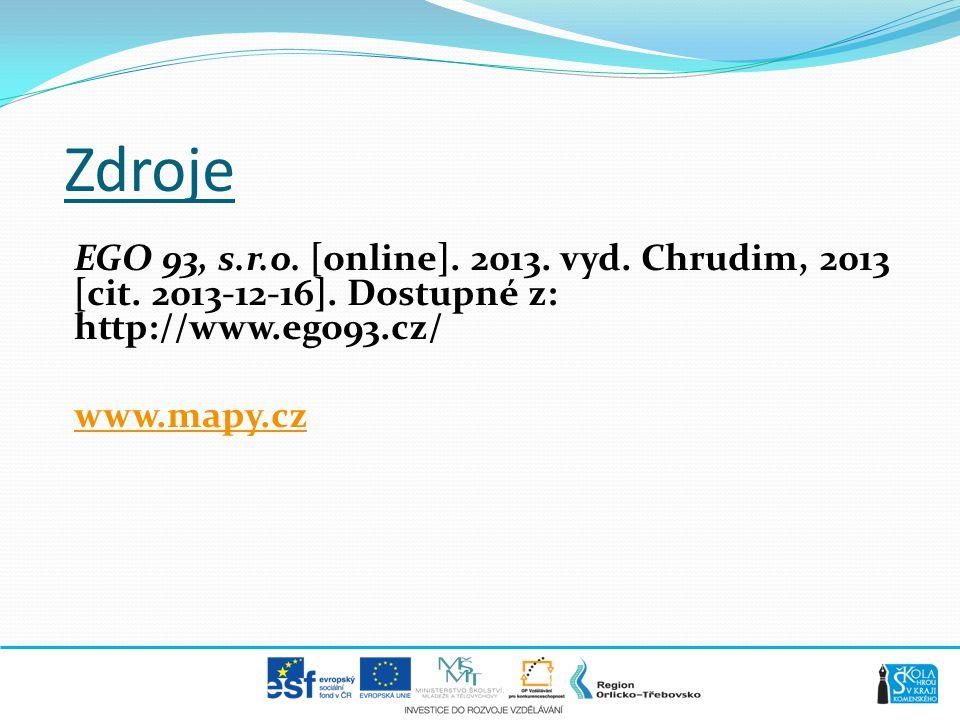 Zdroje EGO 93, s.r.o. [online]. 2013. vyd. Chrudim, 2013 [cit.